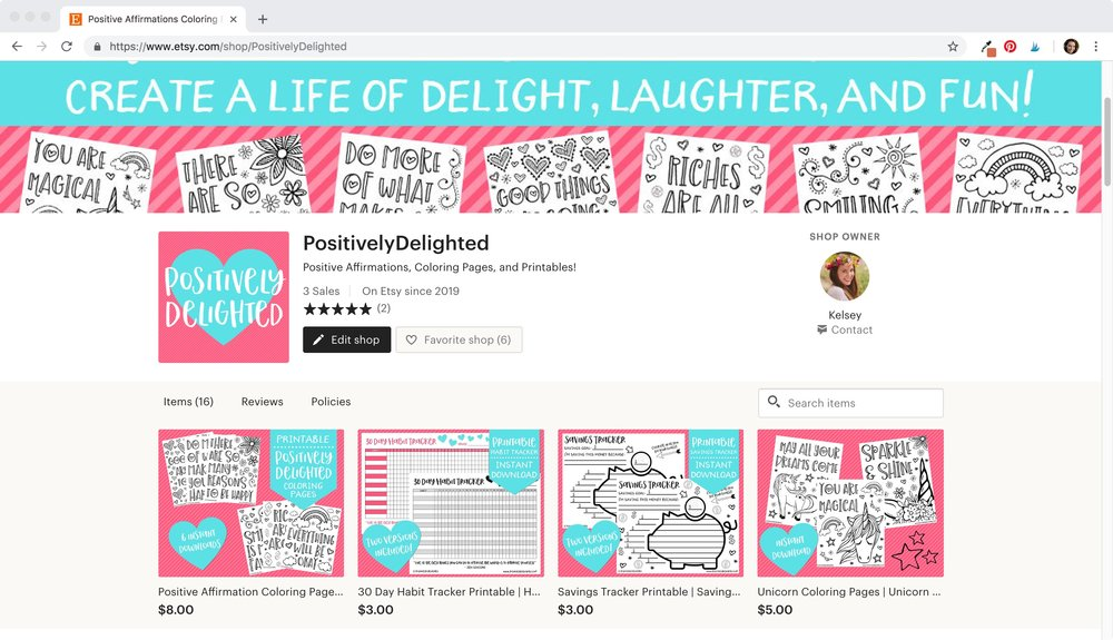 Positively Delighted Etsy Shop - Printables