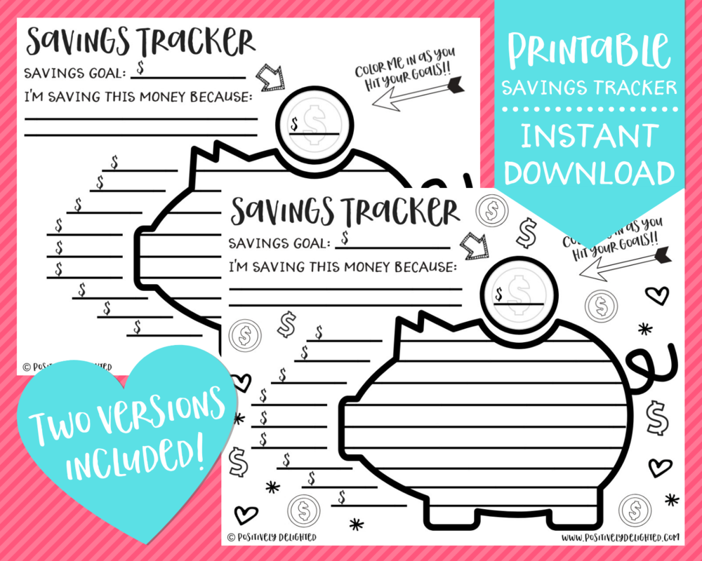 Printable Savings Tracker Positively Delighted Product Image 1.png