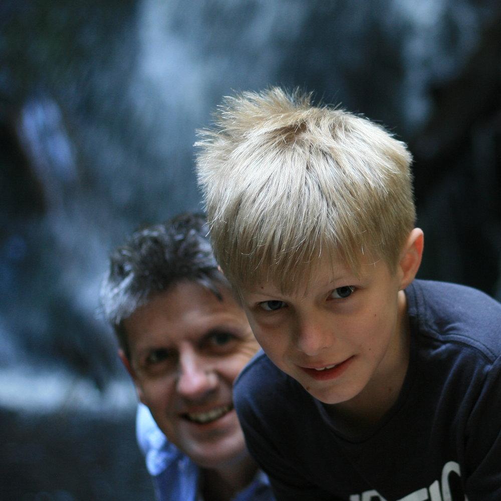 Fatso & DJ at Hogarth Falls, Strahan, Tasmania