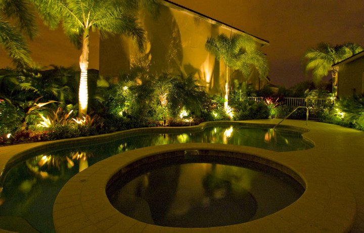 Pool Landscape at Night - Boca Raton Fl.