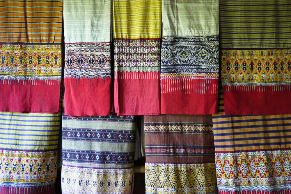 A display of Tai Yuan skirts from Mae Chaem, Chiang Mai