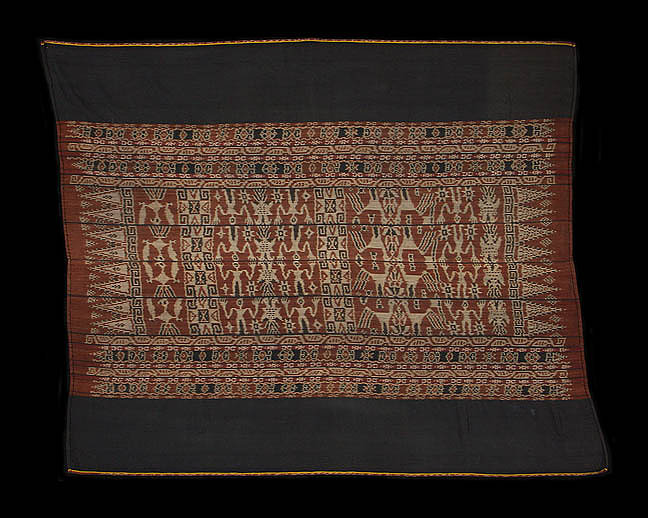 19th century sarong with double headed eagles.  Made with handspun cotton, Kisar, Indonesia  138 x 118   Samyama  Collection.