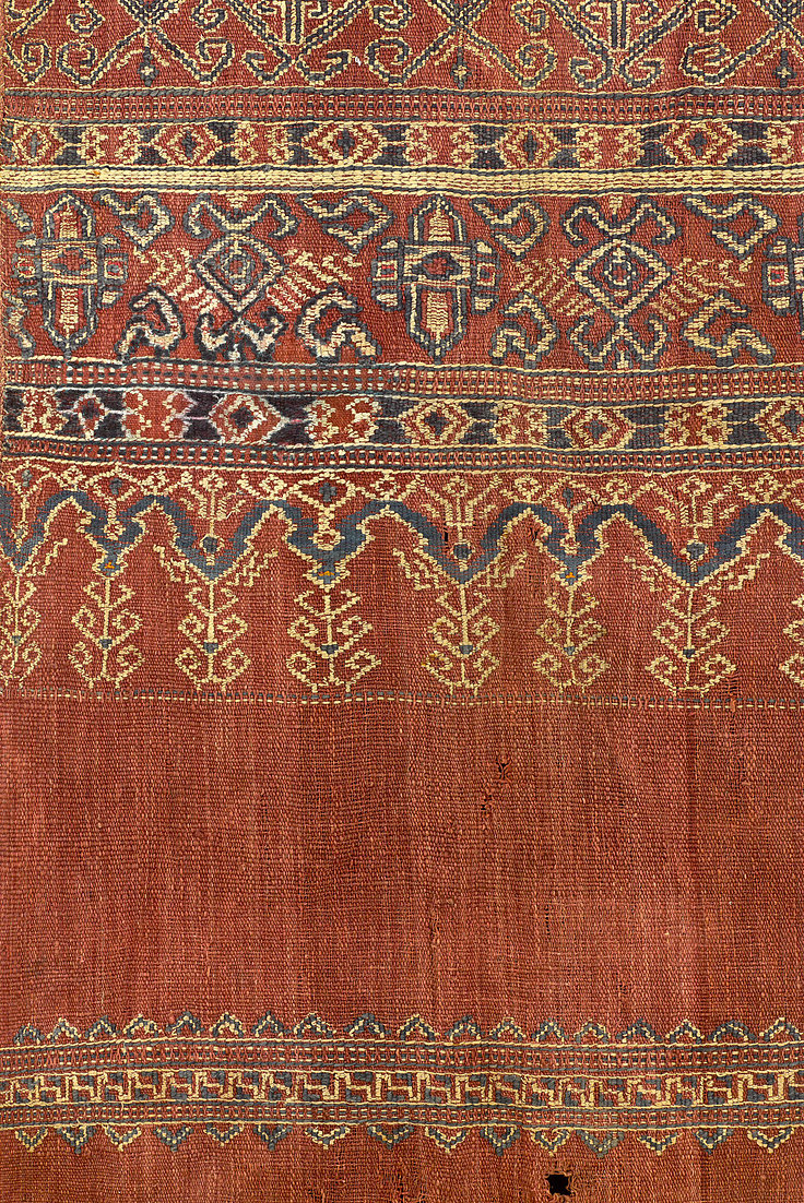 Details of 1800-1880s Pua Sungkit, ceremonial hanging.  Made of handspun cotton with supplementary weft wrapped around warp. Natural dyes. Iban people, Sarawak, West Malaysia.   88 x 190 cm   Samyama  Collection.
