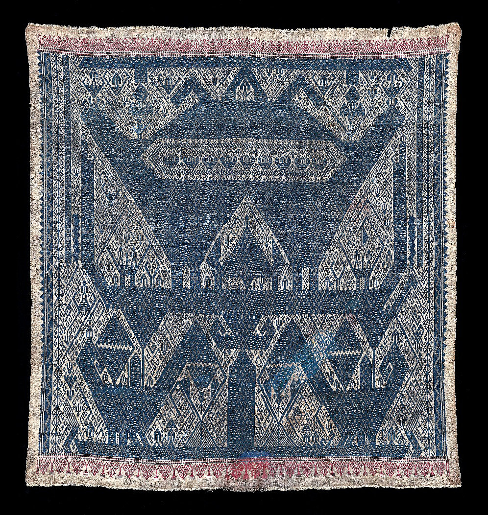 1850s' Large Tampan, ceremonial cloth for gift exchange.  Made of cotton on cotton supplementary weft of ancestral figures, birds and animals on a ship, all natural dyes. Komering, South Sumatra, Indonesia.   95 x 88 cm   Samyama  Collection.