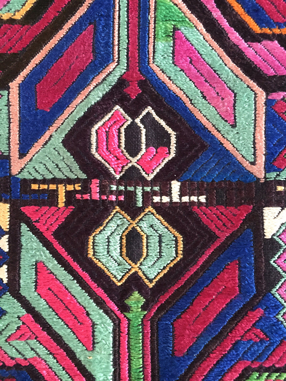 Miao embroidery with satin stitch from Guizhou, China.Yang Wen Bin Collection.