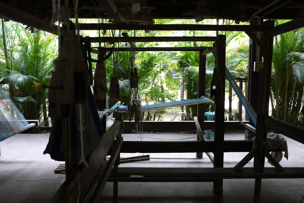 Loom in the open-air weaving space