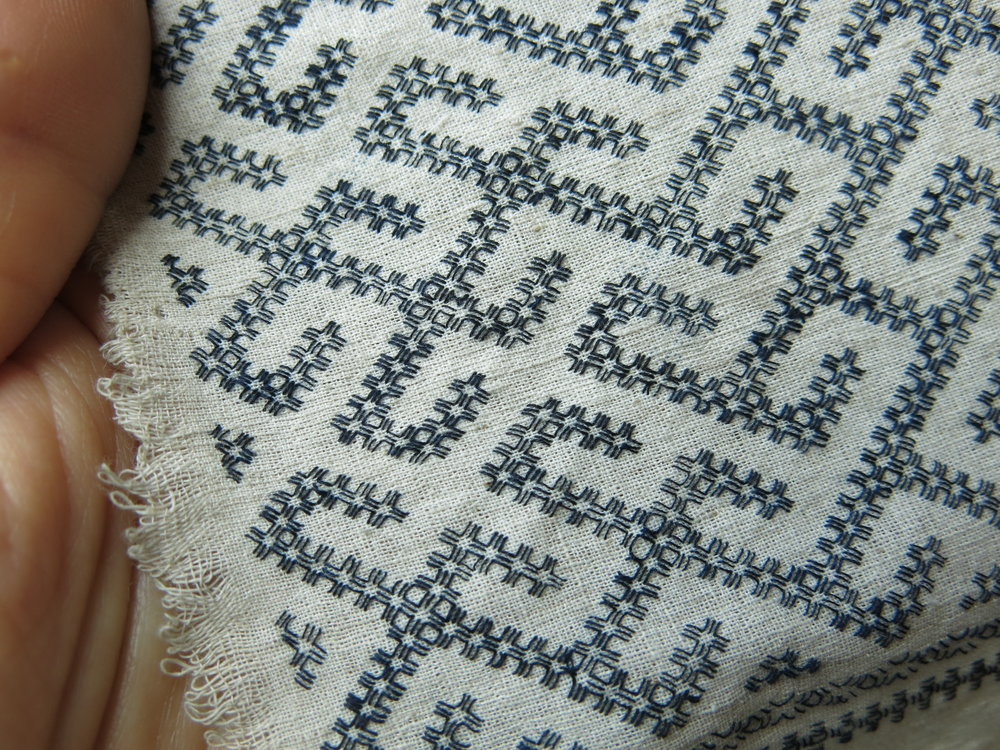 Base cloth with completed anchor stitches