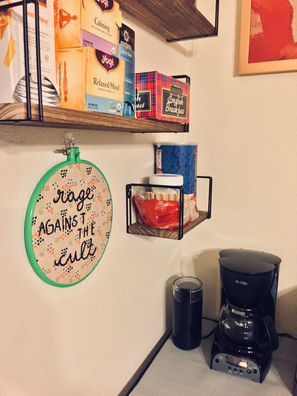 Featured: An amazing embroidery piece by our friend and felllow BYU survivor, Meg. It lives in our coffee corner, obvs.