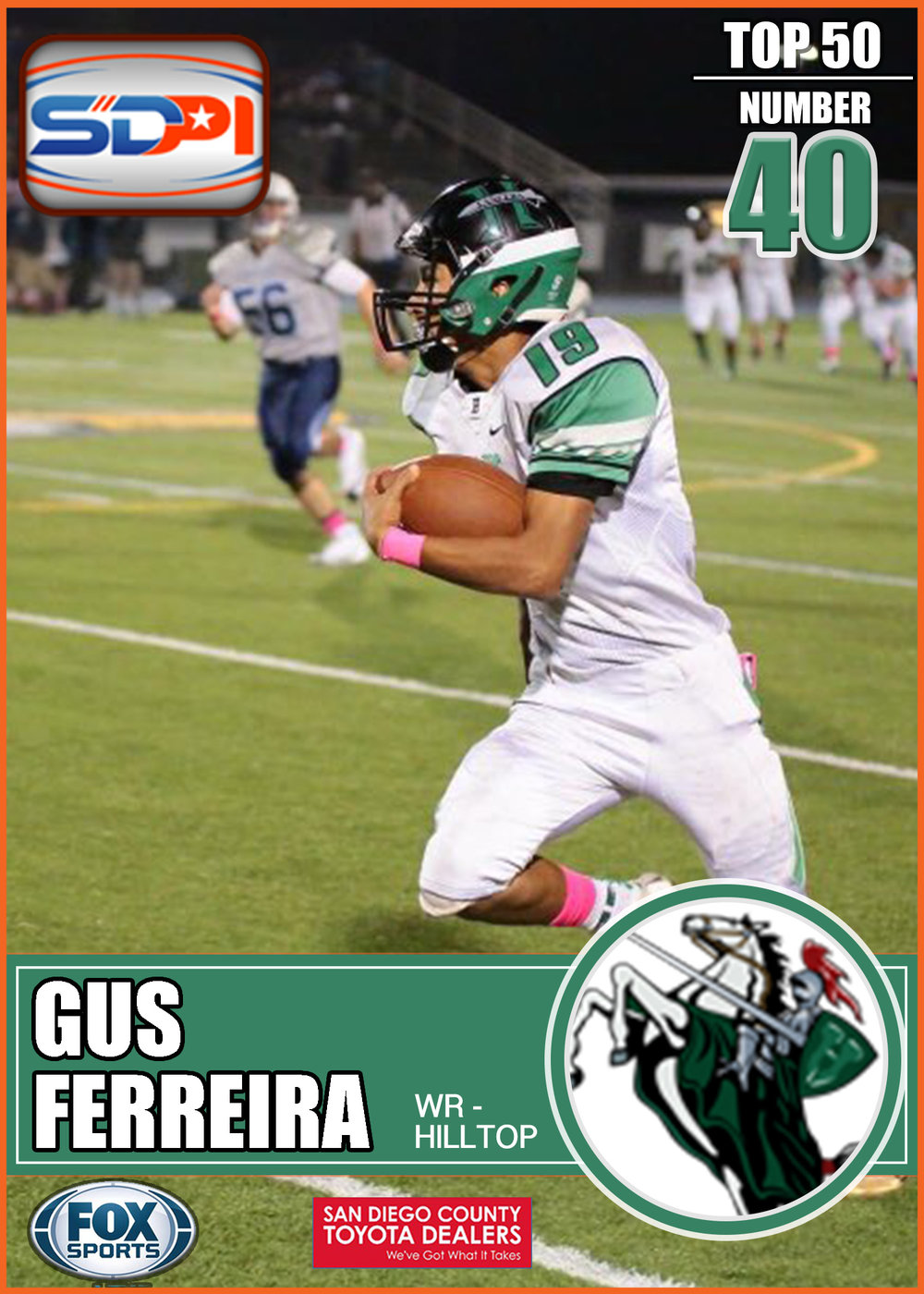 - One of the hidden gems of San Diego's South Bay Ferreira is as explosive as he is elusive. He totaled 1645 receiving yards and 15 TD's all while getting double teamed on a majority of plays. With a new quarterback and beefed up o-line this should be a huge senior season for the Lancer.Click here to see his highlights.