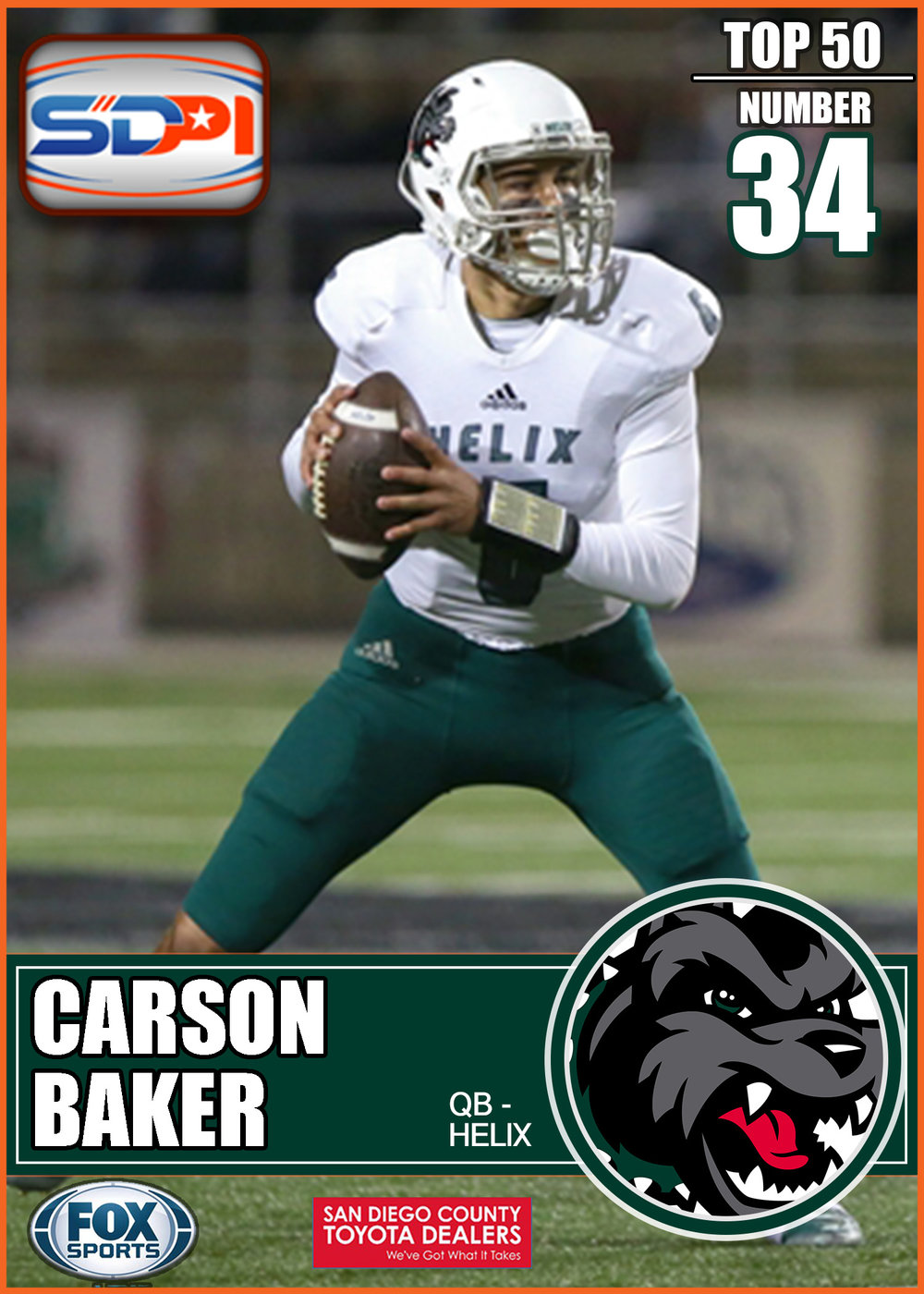 - The Highlanders' finished 2016 as the 7th ranked passing offense in the San DiegoSection thanks to Carson's arm. He showcased impressive efficiency by recording a 23:5touchdown-to- interception ratio, averaging 213.5 yards per game, and completing nearly 67% of his throws. With an abundance of talented targets this year, Baker has a chance to put up even greater numbers.