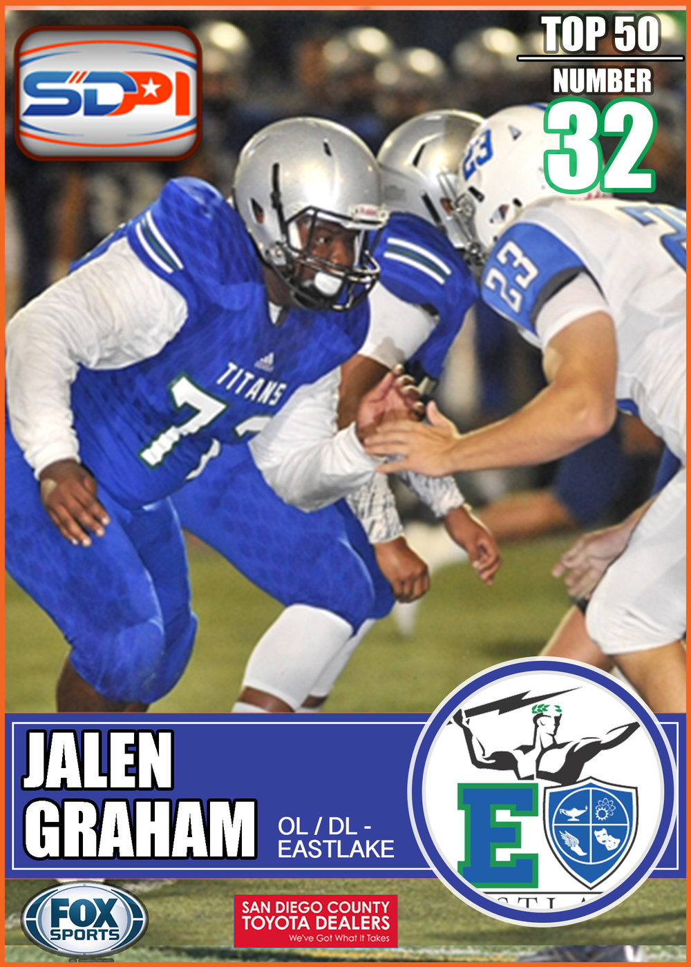 - Jalen established himself as a titanic force at the line of scrimmage last season. Hisrelentless pursuit of the ball led him to 75 tackles in 10 games. Entering his third year on varsity, Graham will lead his fellow linemen by example in order to secure more wins in 2017.