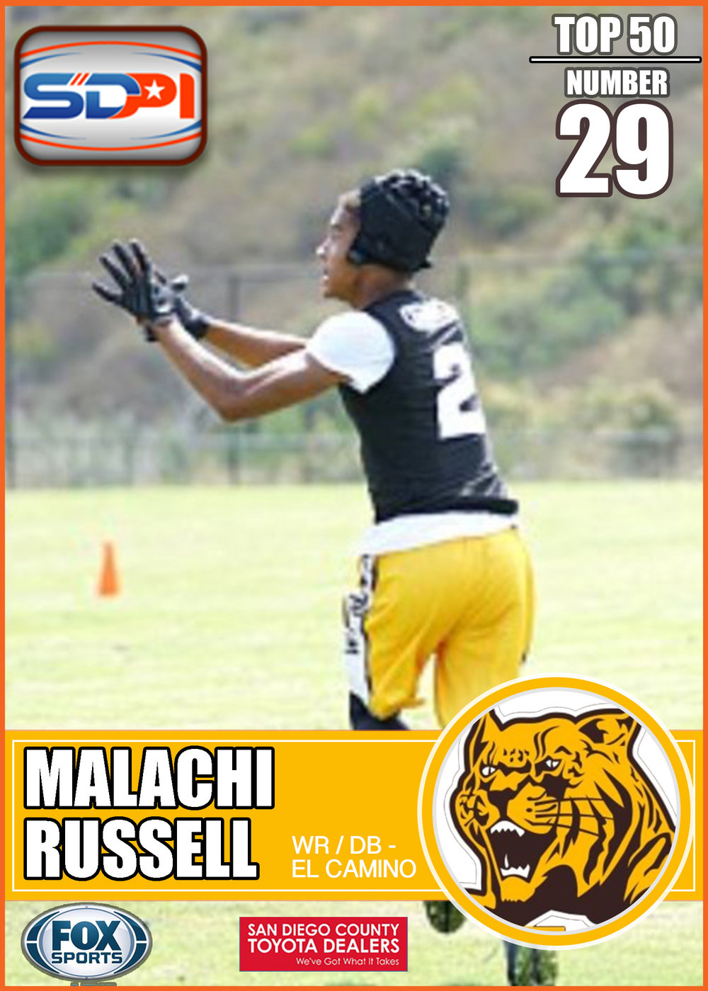 - Malachi is a naturally gifted playmaker with speed, agility, and strong hands. He's the type of player who can take a five-yard route in tight coverage for a +40-yard TD. He scored 24 receiving touchdowns and led the state of California with 1,742 receiving yards in 2016. Russell is going to torch secondaries some more in 2017.