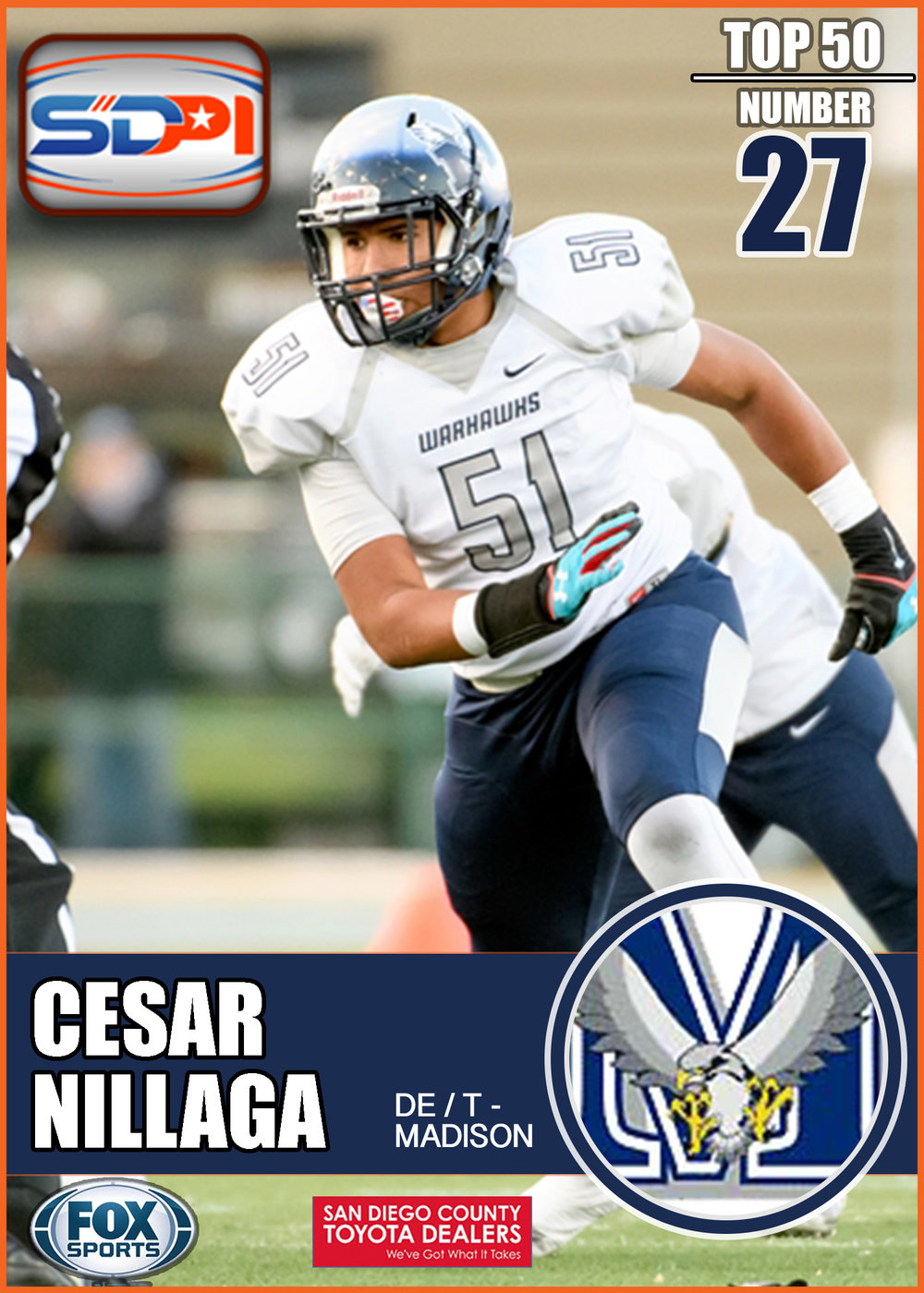 - Cesar was a key player on a Warhawk defense that pestered California offenses on its way to a state title last season. He hustled for 24 QB hurries, 14.5 sacks, one forced fumble, and even made a case to join the