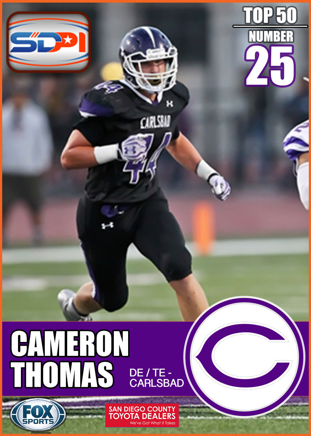 - Size and versatility. Thomas is one of San Diego's must under the radar talents. It's a new generation at Carlsbad and Thomas will be a backbone of the Lancer's production on both sides of the ball.