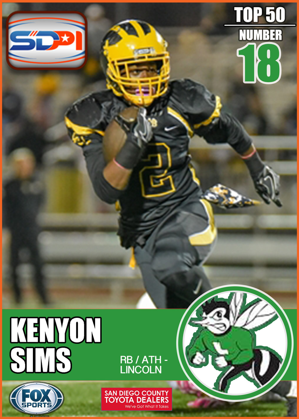 - Kenyon only played in one game for Mission Bay last season. That brief glimpse was all anyone needed to realize his playmaking abilities. He finished that game with an impressive 80 rushing yards on five yards per carry and two TD's, two catches for another 16 yards, and an interception. Sims is bringing his talents to Lincoln High School in 2017.