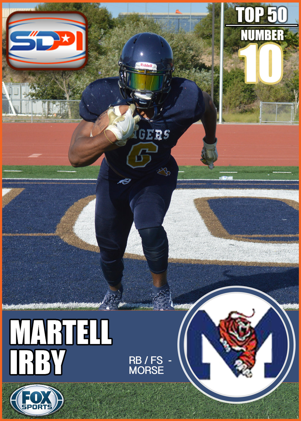 - Martell was one of the most dominant running backs in the SD Section last season. Just a handful of his notable stats from 2016 include 8.5 yards per carry, over 150 rushing yards per game, 22 rushing TD's, five successful two-point conversions, and six catches for over 25 yards per reception. Look out, Irby paired with top-50 senior teammate, Tim Patrick, makes for a scary-great Morse offense in 2017.