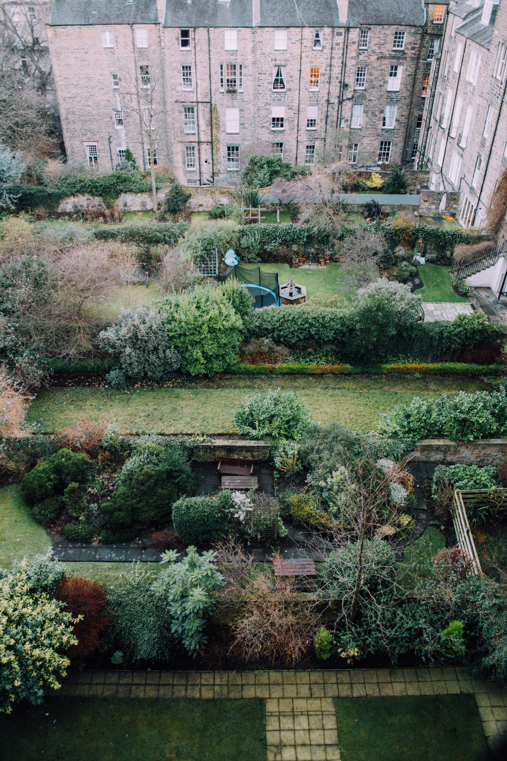 Why do backyards look so much more regal in Scotland? - Can I get an amen? This was the view from our apartment in Edinburgh. Every morning as the sun would rise, the colors on the buildings would shift from cooler tones to warm and inviting oranges and browns on the bricks. It was one of my very favorite things to witness on our visit to Scotland.