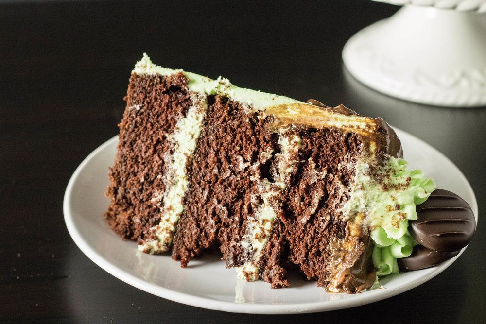 Vegan Mint Chocolate Fudge Cake