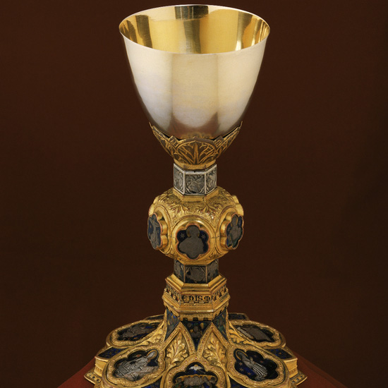 Giacomo Guerrino; Chalice; Siena, Italy; ca. 1375; copper and gilt base and silver cup with basse-taille enamels; 9 5/8 x 6 1/8 in. (22 x 15.5 cm); Loyola University Museum of Art, Martin D'Arcy Collection, Gift of Mr. and Mrs. Donald F. Rowe Sr. Photo courtesy of the Rubin Museum.