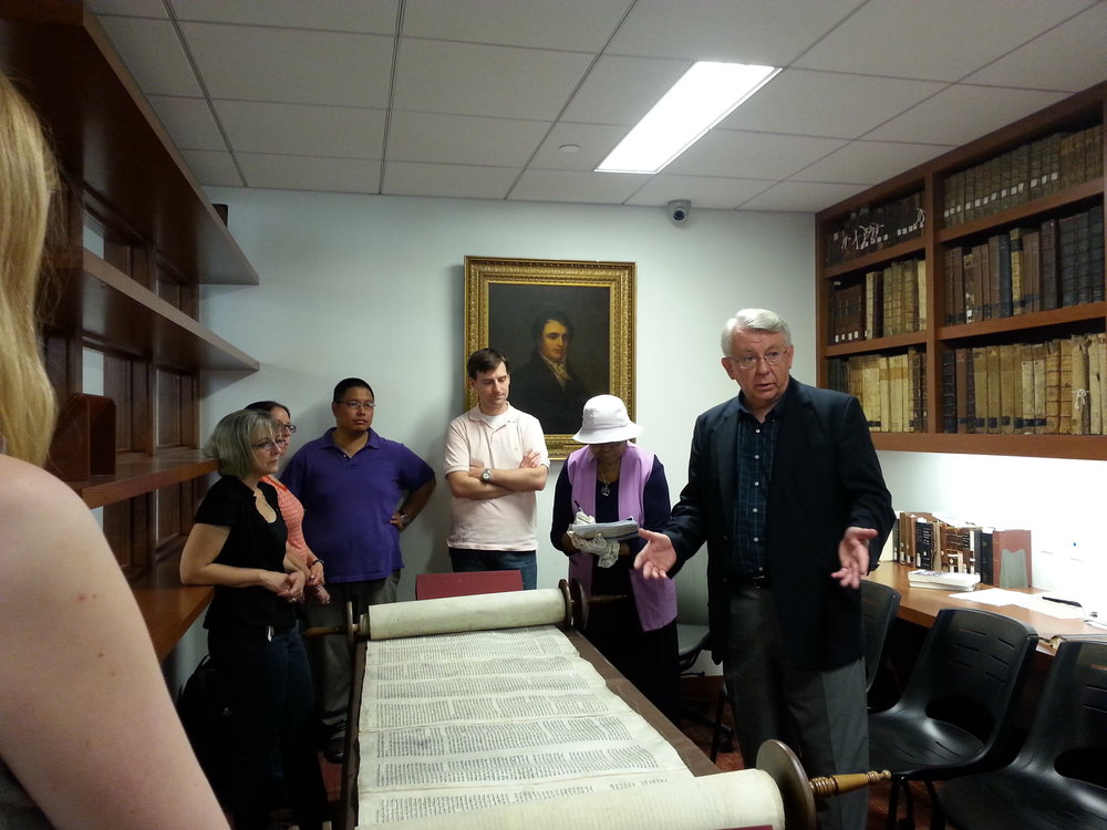 Professor Owens' OT1 class visits Special Collections on Library Day to learn about the Torah.