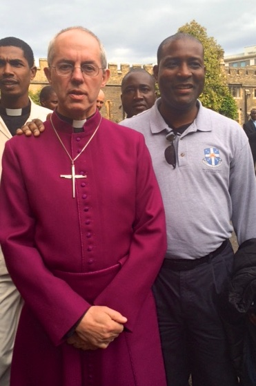Tommie Watkins, Jr. '16 with Archbishop Welby at Lambeth Palace
