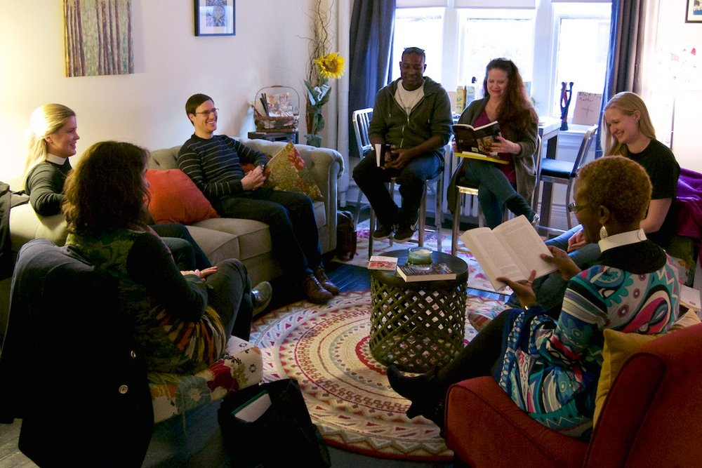 Members of The Wisdom Year Integrative Seminar gather for their weekly meeting.