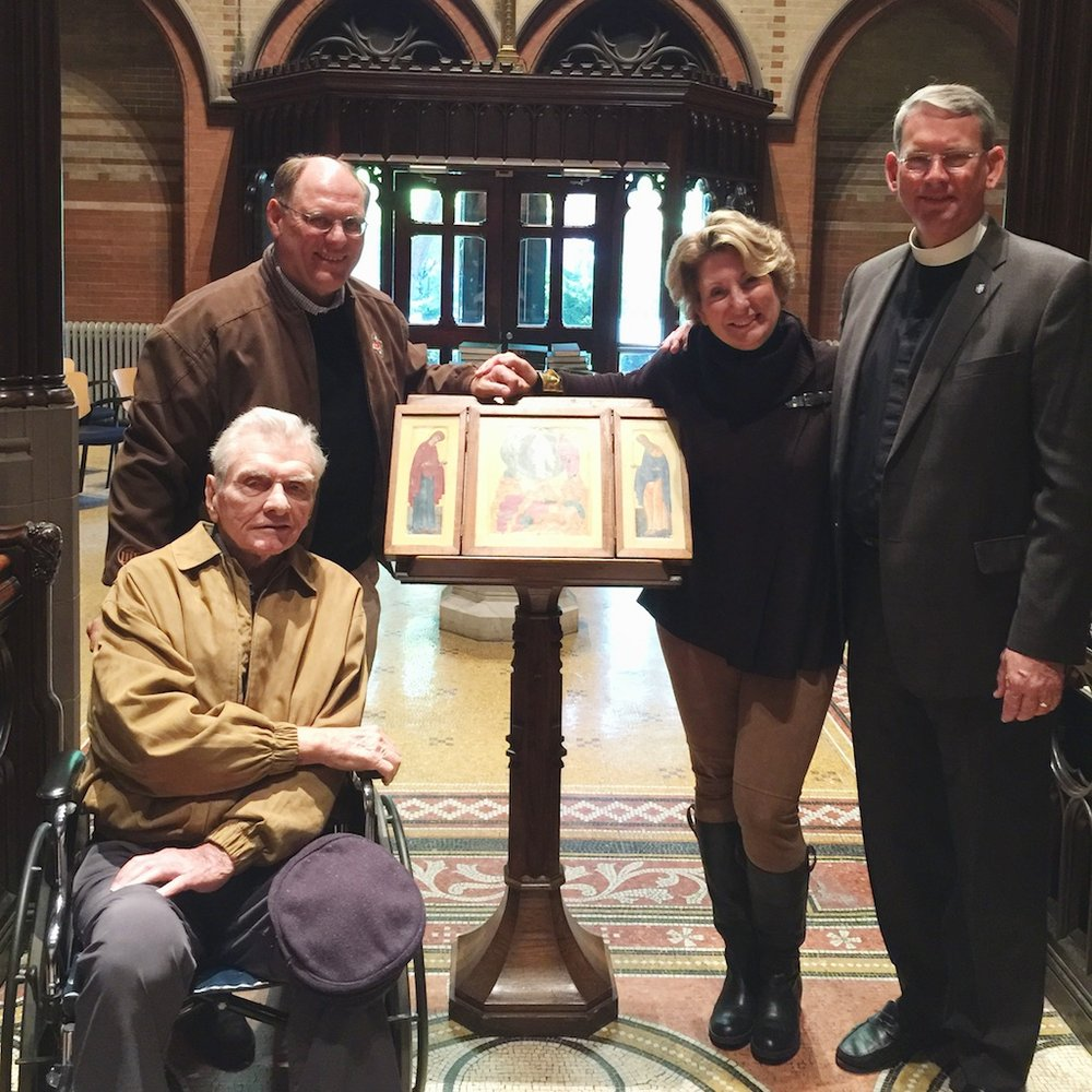 Frank Strup, Jr. (left) on his most recent visit to the Chapel of the Good Shepherd, with (behind l to r) son Dick Strup, daughter Susan Hood, and Dean Dunkle.