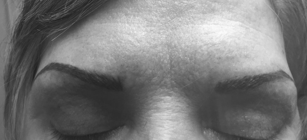 hairstroke brows on client with very sparse natural brow