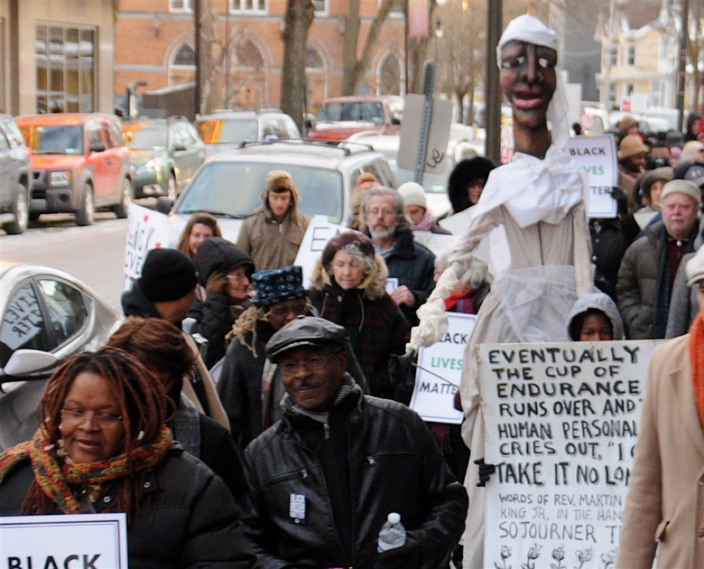 NY Solidarity March - MLK's Words in Sojourner Truth's Hands, Kingston, NY Solidarity March, 2015; photo by Jim Peppler