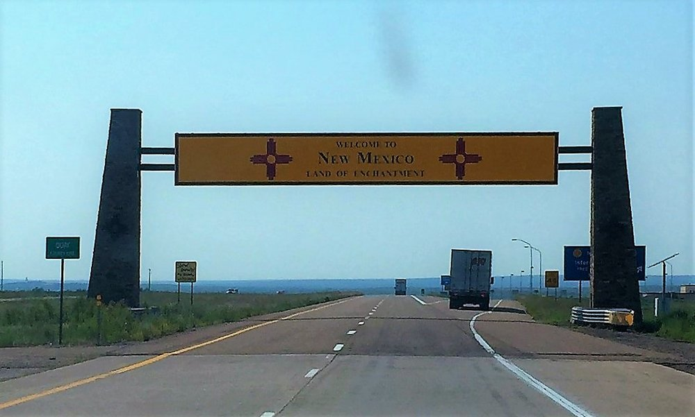 New Mexico Border through the windshield