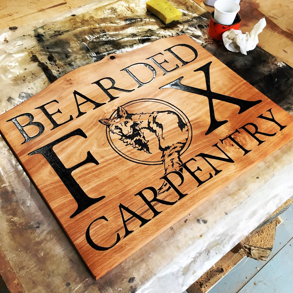 Hand Routed Sign for the Bearded Fox shop, located in Derwentside Shopping Mill, Belper.