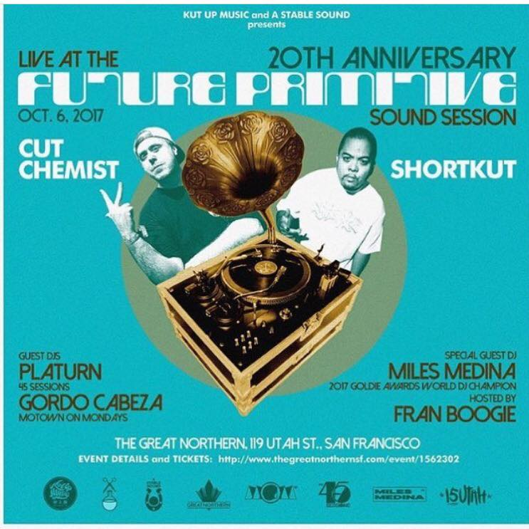 #SanFrancisco: DJ Shortkut (Invisibl Skratch Piklz) x Cut Chemist ✂️! 20th anniversary of Future Primitive Sound Session going down Oct 6! Tickets:https://www.ticketfly.com/purchase/event/1562302