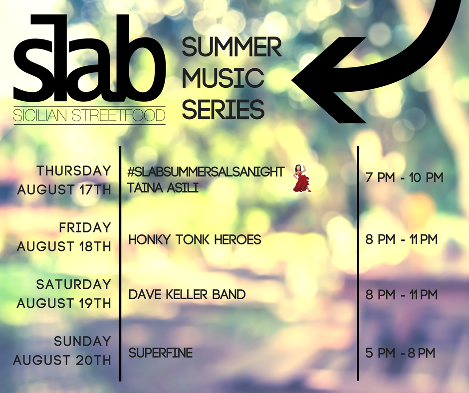 Check out this week's line up for the #SlabSummerMusicSeries! All concerts are free (pizza and beer not included), and we're the only outdoor music venue in #DowntownPortland! You don't want to miss this!