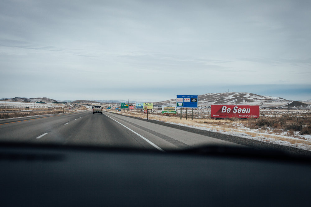 Billboards lining the highway in Wyoming