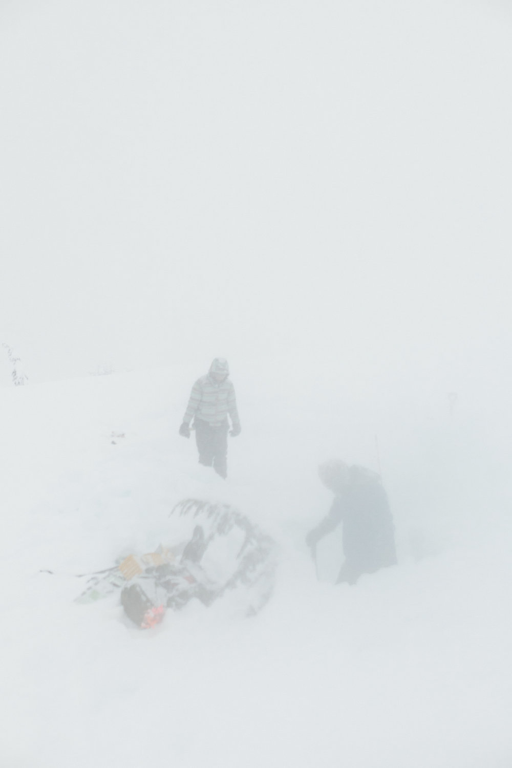 Making our snow-cave shelter in the storm