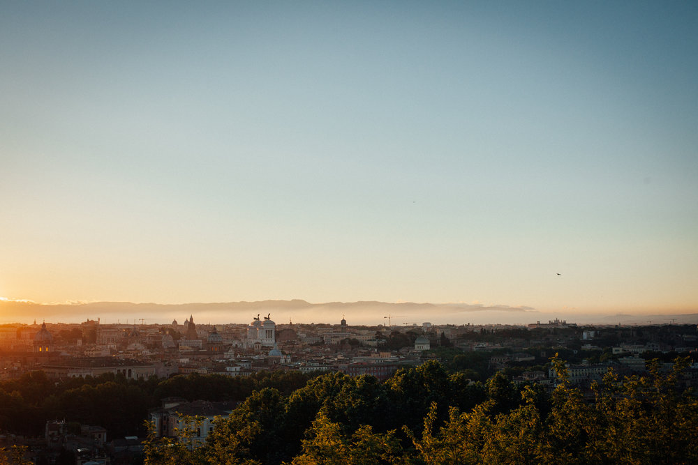 Sunrise in Rome from Gianicolo hill