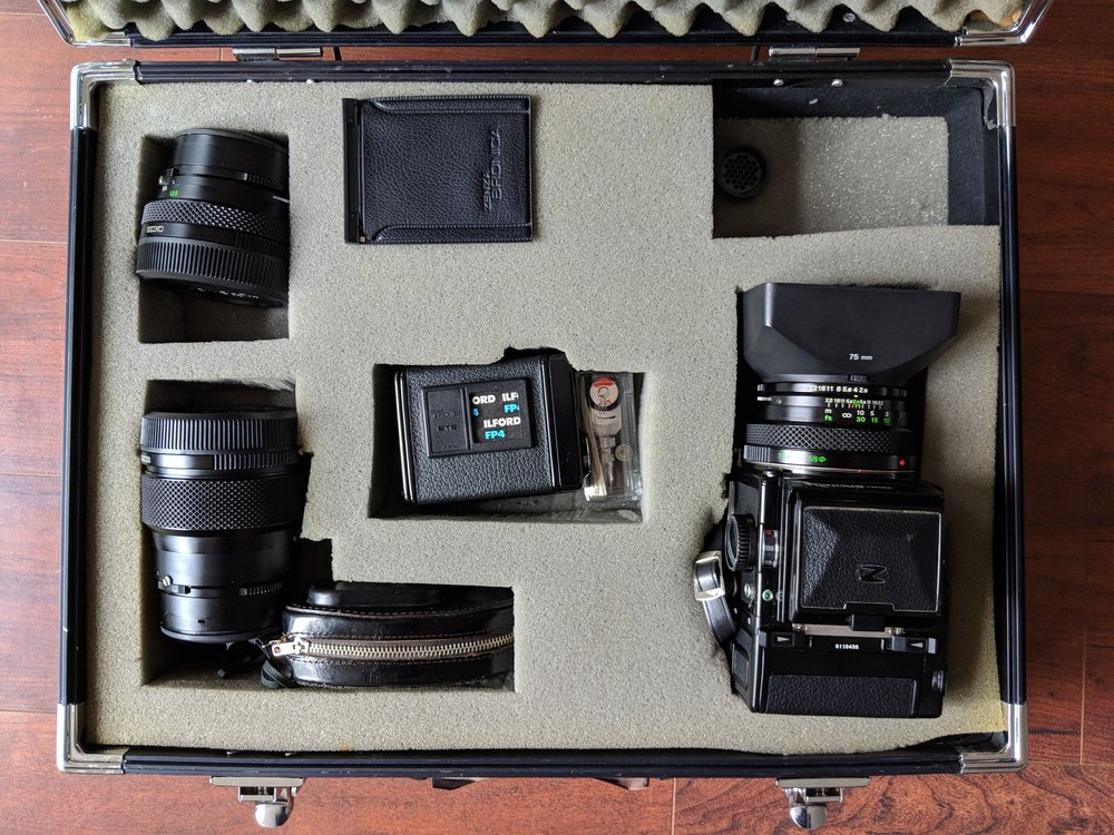 Zenza Bronica with 2 backs, 40mm, 75mm, and 150mm lenses