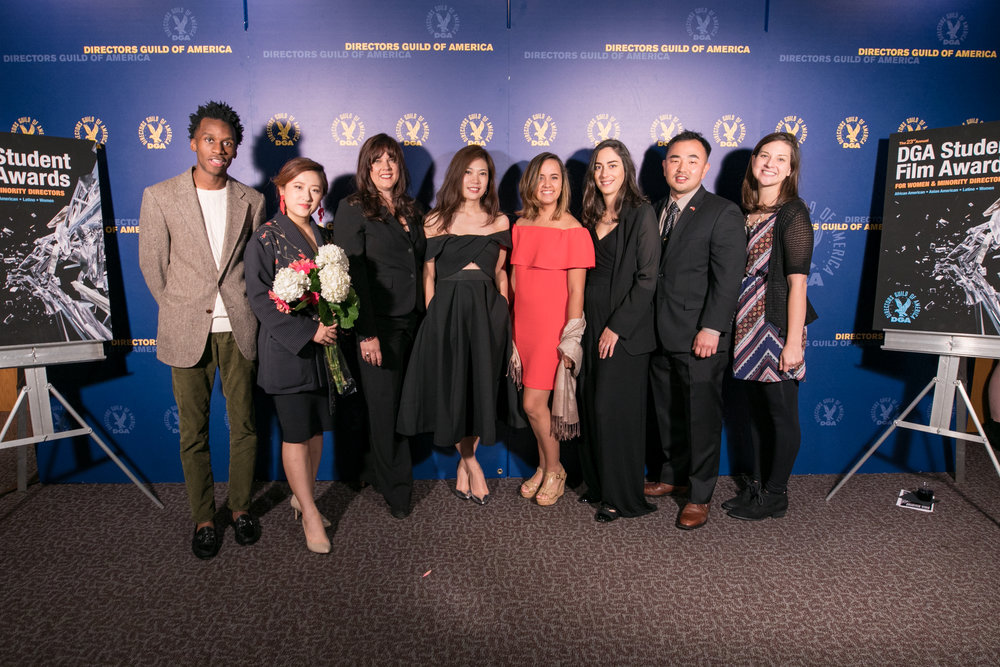 Samira Elghoul  (third from the right) represents  The Incident  among fellow winners across the different categories.