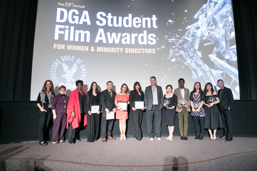 Script Consultant  Samira Elghoul  (fourth from the left) represents  The Incident  at the Directors Guild Student Awards for Women and Minority Directors.