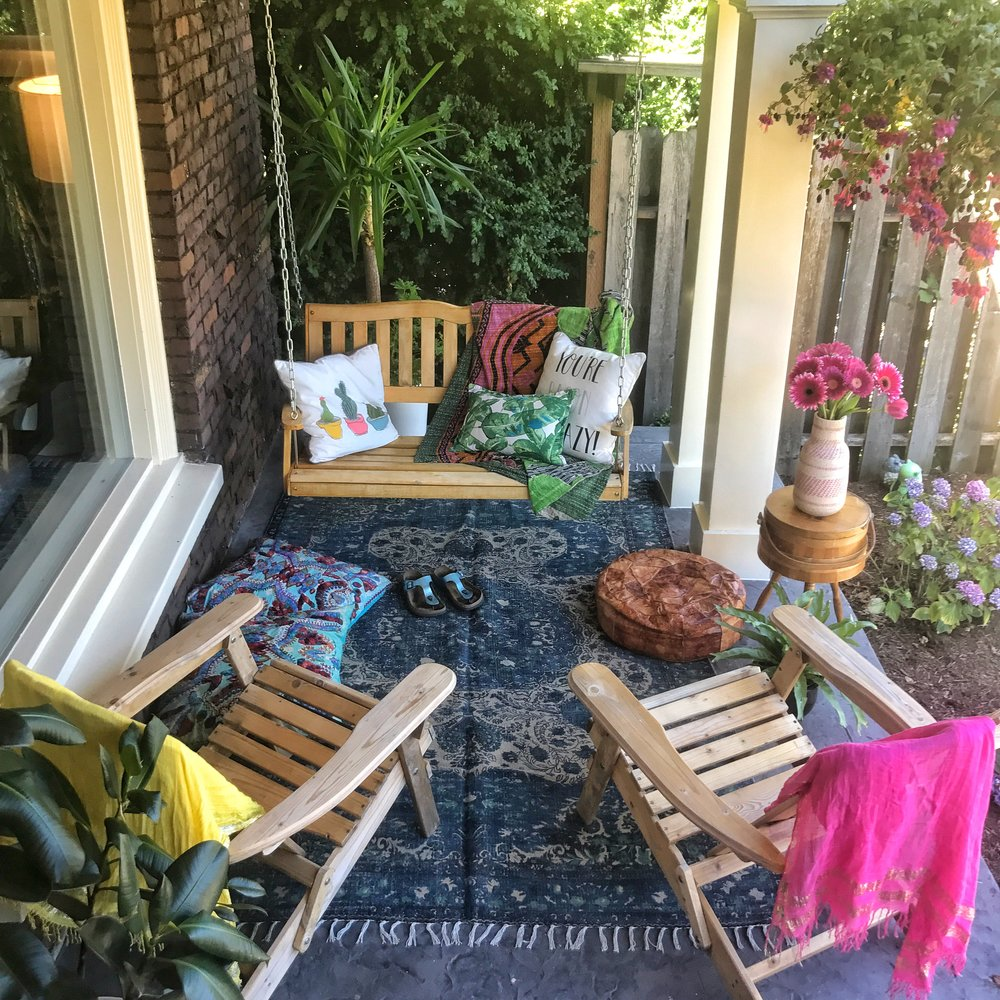 Lil boho front porch hangout