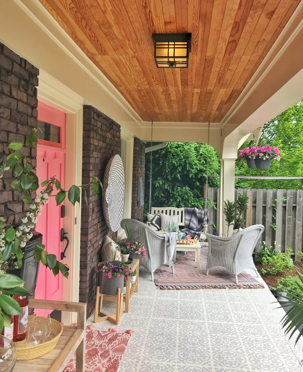 Pink door and beautiful floor!