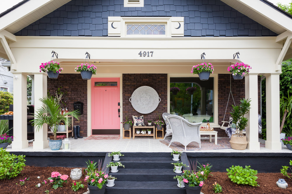 wallingford front porch craftsman pink door