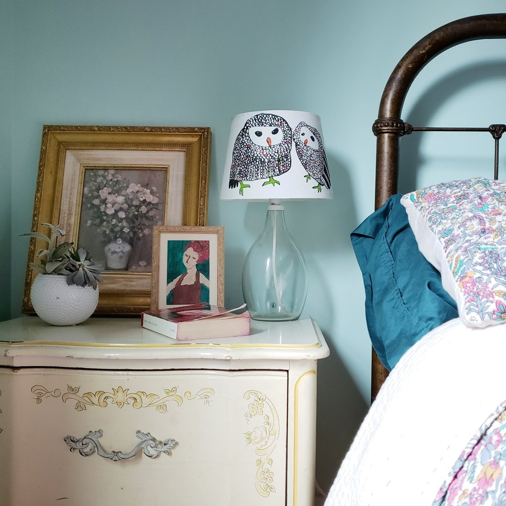 Audrey's bedside table