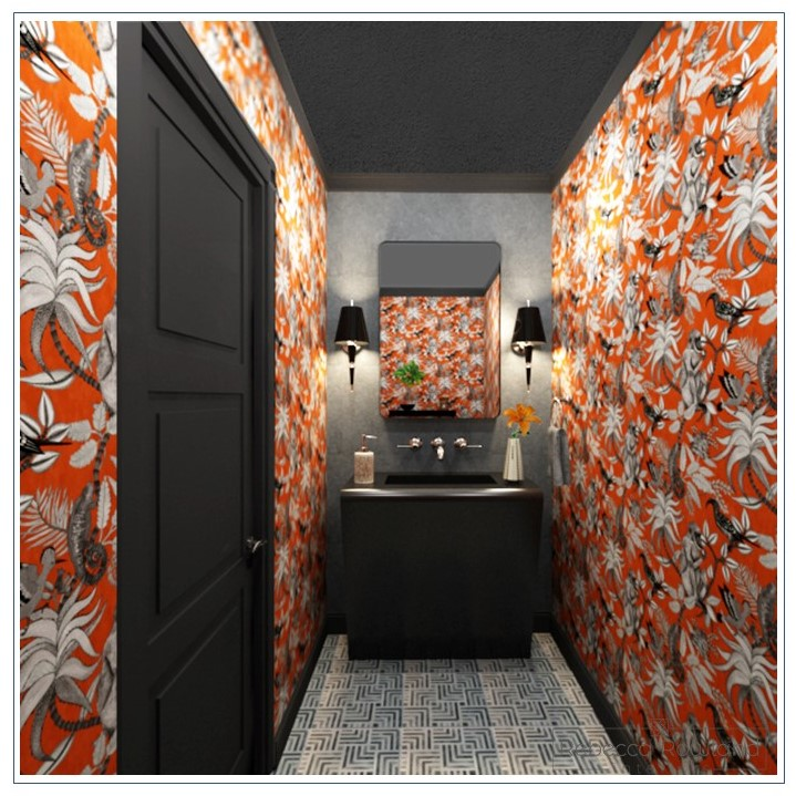 Bellevue Powder Room  - Updating a windowless powder room with finishes that make a bold statement. From unforgettable wallpaper to a curved stone vanity, every element is thoughtfully considered to make the small room sing.   Status  - Permitting   Completion  - 2019
