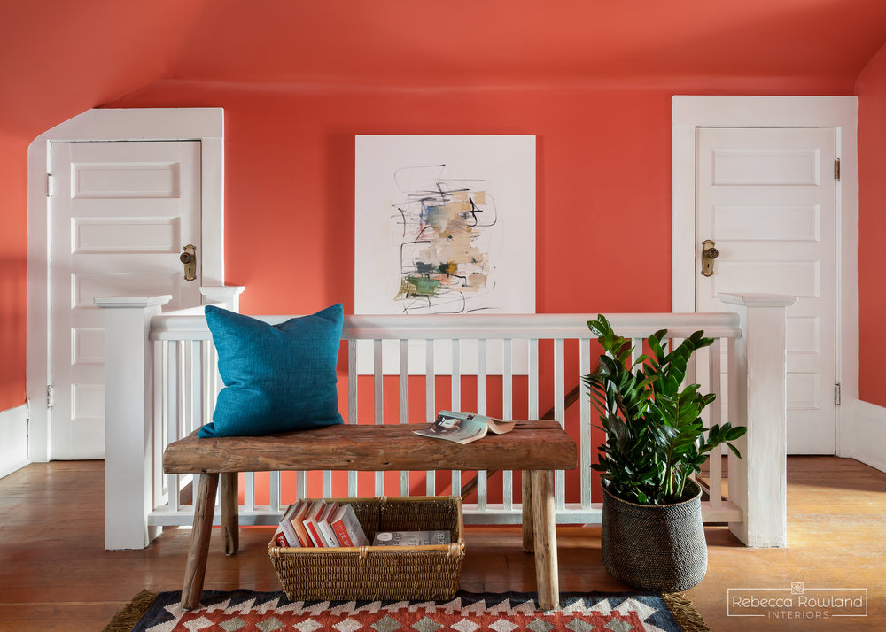 Rebecca Rowland Interiors _Roosevelt_Craftsman_Seattle_Interior_design_stair_landing_coral