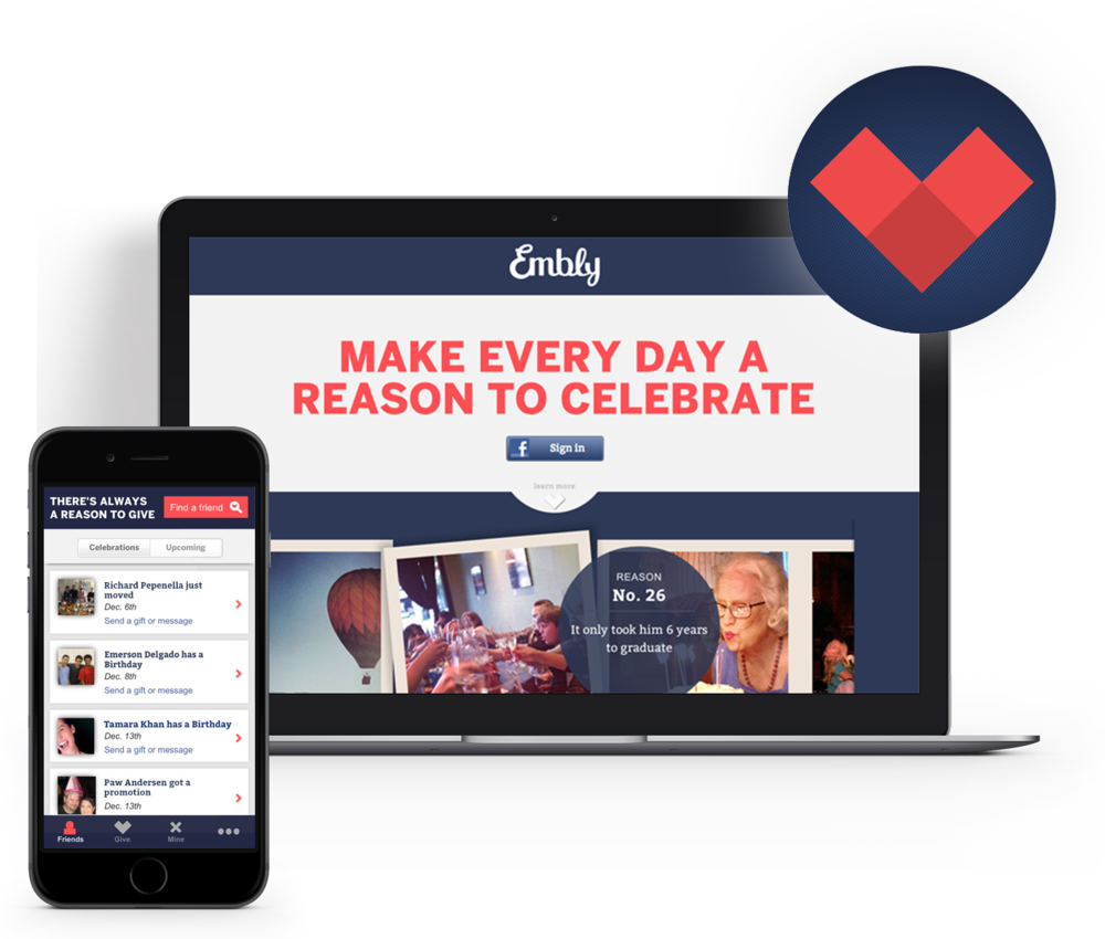 Embly desktop and mobile social gifting service