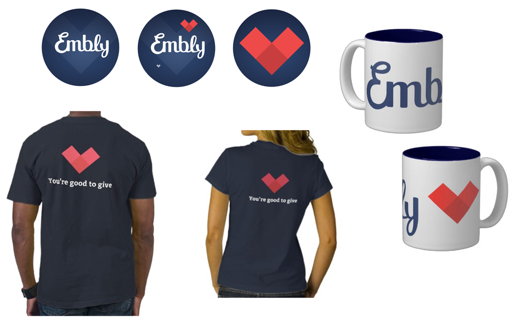 Branded stickers, mugs and T-shirts
