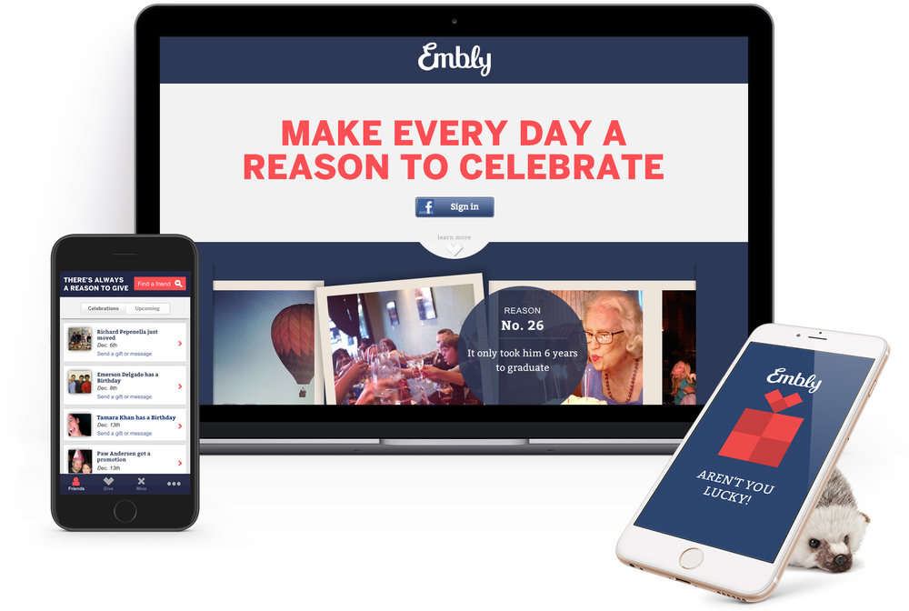 Embly desktop and mobile gifting apps
