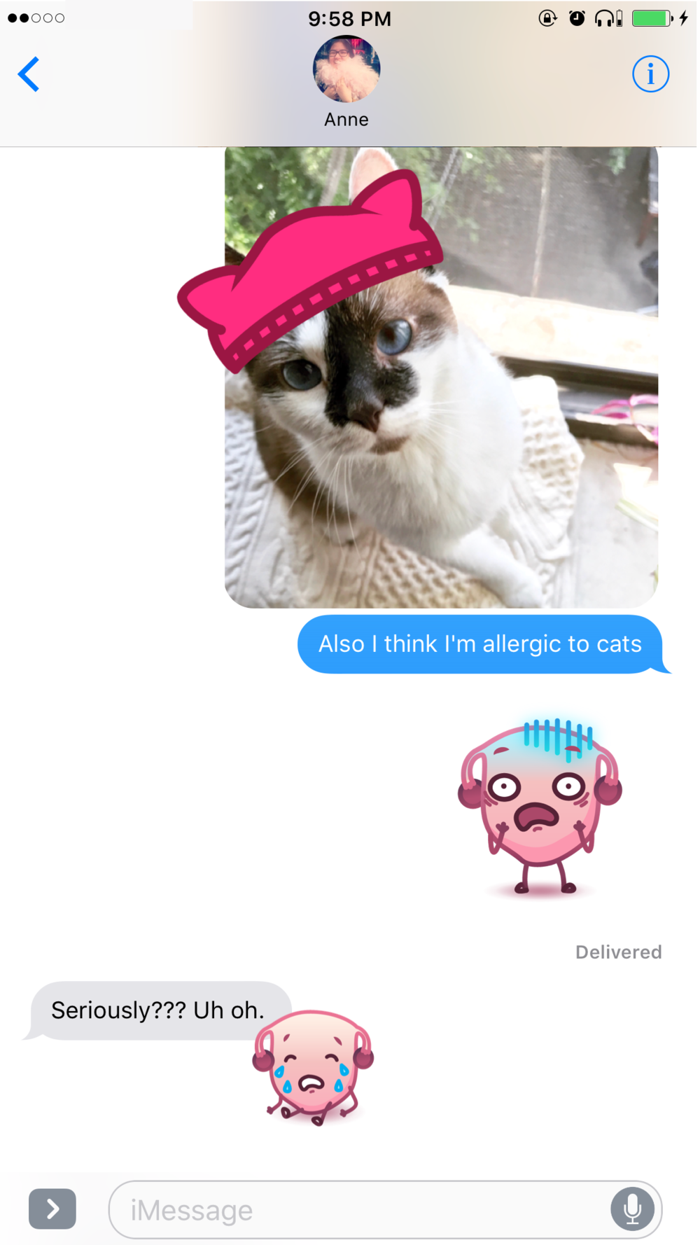 You can also rotate and resize stickers. That's how you perfectly place pussy hats on photos of everyone you know.