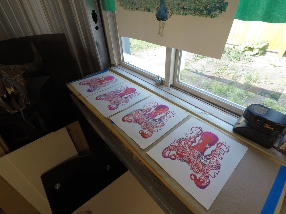 - Drying printsI have shelf by the window that is a good size to hold long boards, on which I dry the finished prints. It works pretty well for me, since it's out of the inking and pressing zones! I really like having a full shelf of drying prints at the end of the day.